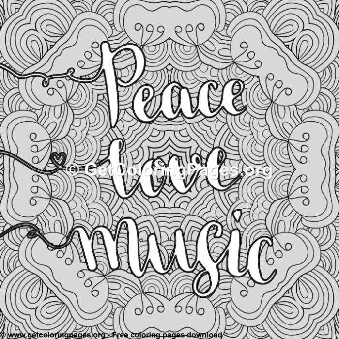 Love Quotes Peace Love Music Coloring Pages
