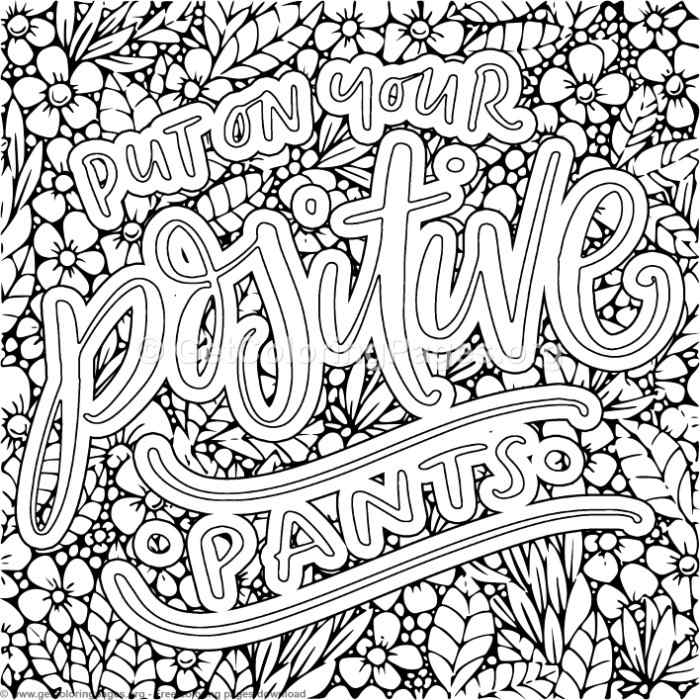 Put On Your Positive Pants Coloring Pages