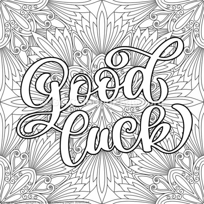 Valentines Lettering Good Luck Coloring Pages