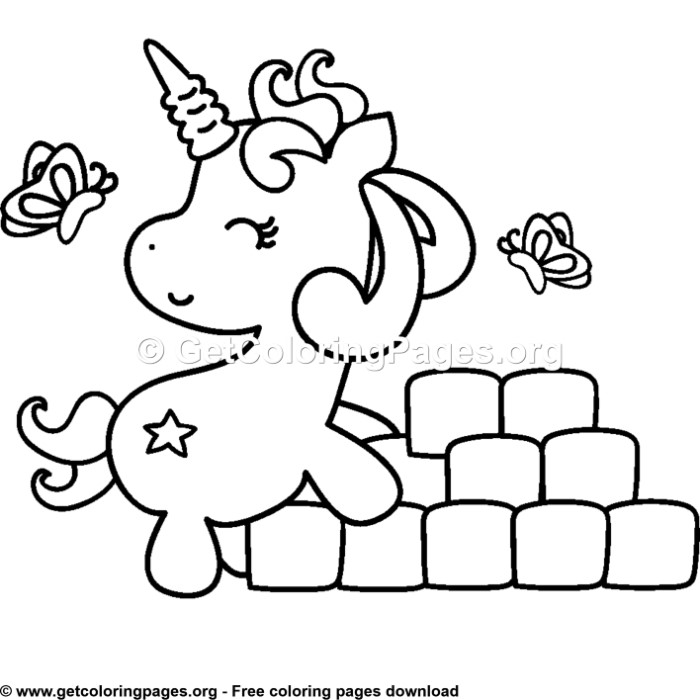 104 Cute Cartoon Baby Unicorn Coloring Pages