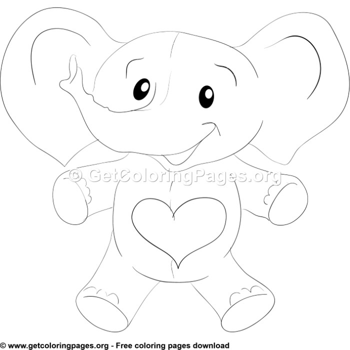 Cute Elephant With Heart Coloring Pages Getcoloringpages Org