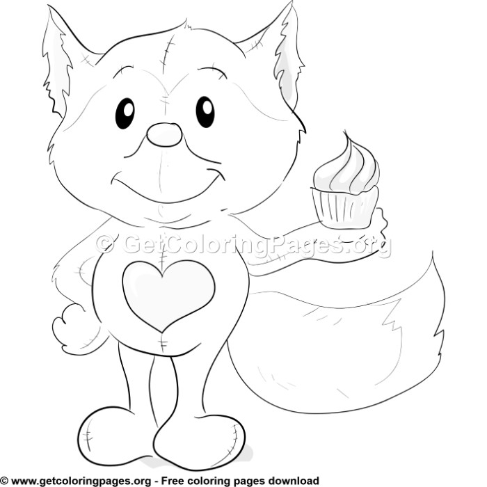 Cute Fox With Heart Coloring Pages Getcoloringpages Org