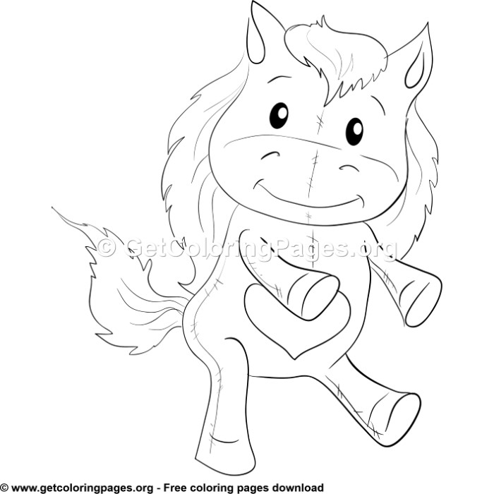 Cute Horse With Heart Coloring Pages Getcoloringpages Org