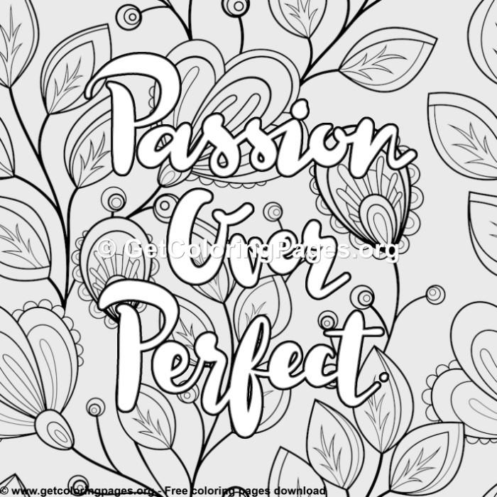 Love Passion Over Perfect Coloring Pages
