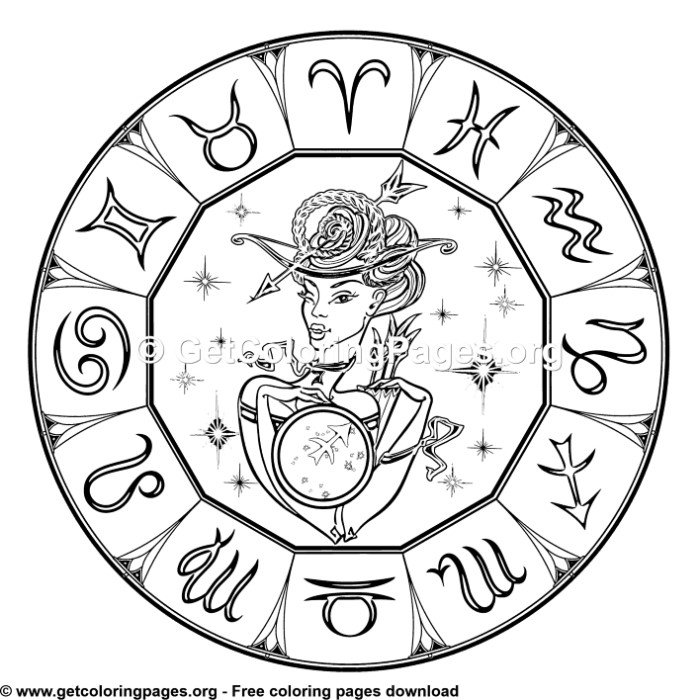 Sagittarius - Round Zodiac Signs Coloring Pages ...