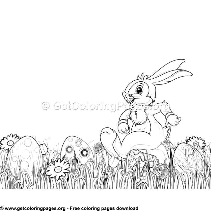 Happy Bunny in the Garden Coloring Pages – GetColoringPages.org