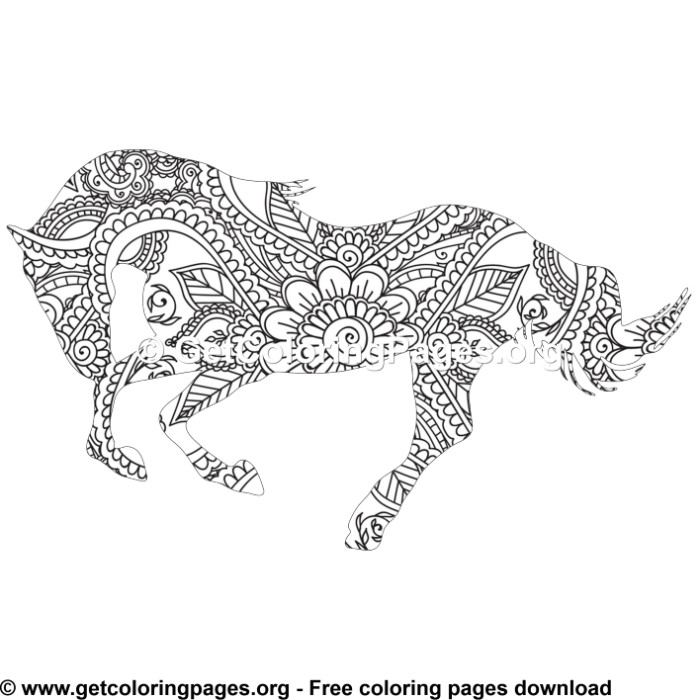 Easy 46 Zentangle Horse Pattern Coloring Pages