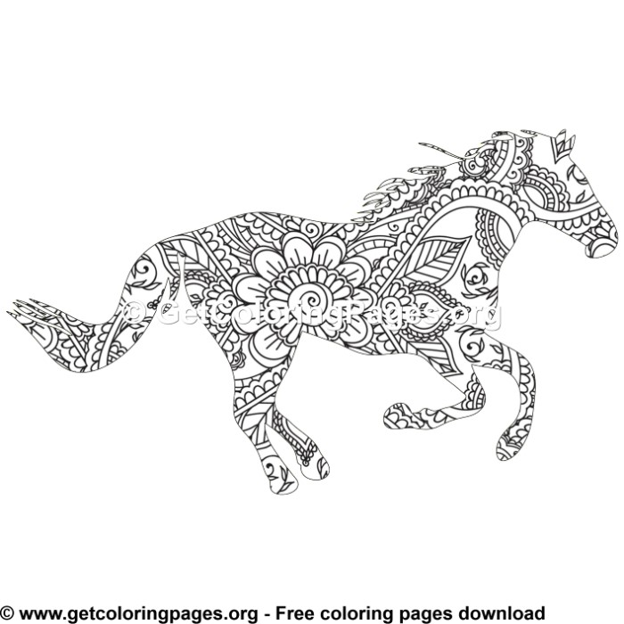 Easy 48 Zentangle Horse Pattern Coloring Pages