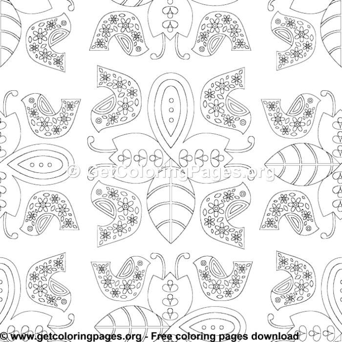 Nordic Animals Folk Pattern 10 Coloring Pages